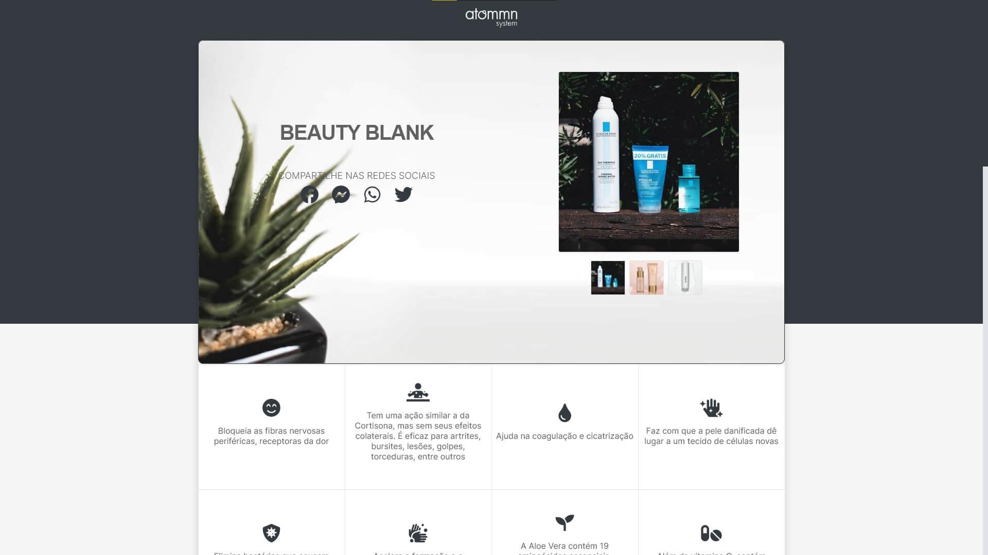 Página externa do produto